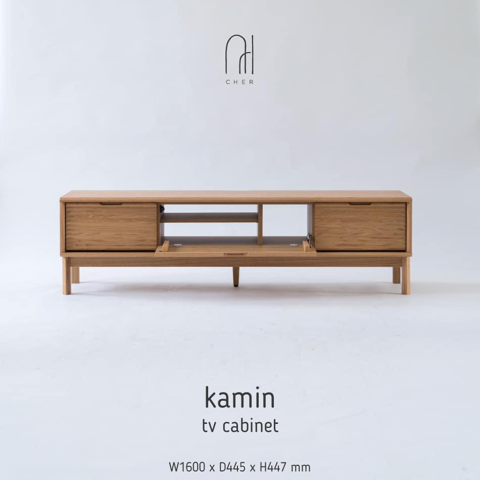 TV Cabinet Kamin Oak Front Open